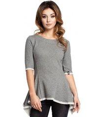 blouse be b041 peplum blouse van gebreide stof met structuur - grijs