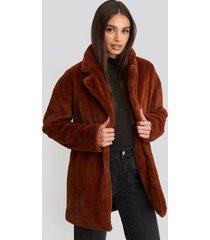 rut&circle tyra faux fur jacket - brown