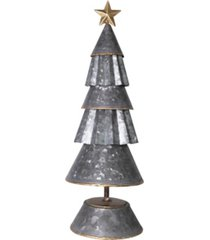 "creative co-op inc 17.25"" multi-tier galvanized metal cone tree with gold-tone star on base"