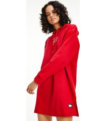 tommy hilfiger women's organic cotton hoodie dress primary red - l