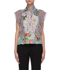 'percy' ruffled floral print neck-tie blouse