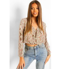 geweven bloemenprint blouse met ruches, yellow