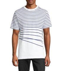 french connection men's striped breton t-shirt - blue ribbon - size l