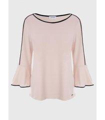 blusa flare rosa calvin klein