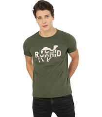camiseta de hombre verde militar rachid camel