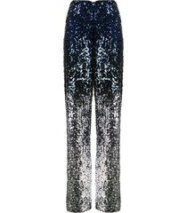 alice+olivia elba sequinned wide-leg trousers - blue