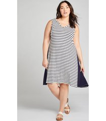 lane bryant women's livi striped sleeveless hoodie dress 18/20 night sky