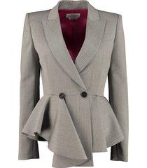 alexander mcqueen double-breast wool blazer