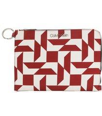 clutch calvin klein geométrica branco/vermelho