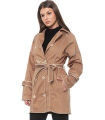 casaco trench coat sarja forum pespontos bege