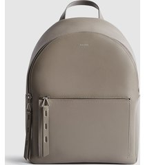 reiss grace - textured leather backpack in grey, womens
