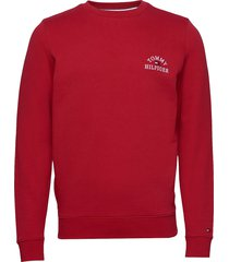 basic embroidered sweatshirt sweat-shirt trui rood tommy hilfiger