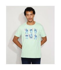 camiseta masculina manga curta stitch gola careca verde claro