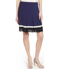 women's anne klein pleated colorblock skirt, size 12 - blue
