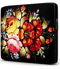 capa para notebook isoprene floral 15.6 à 17 polegadas com bolso feminina