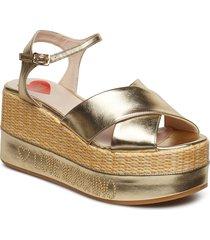 love moschino sandal sandalette med klack espadrilles guld love moschino