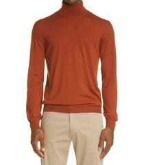 boglioli wool turtleneck sweater, size x-large in rust at nordstrom