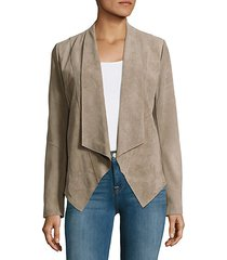 jaimee textured leather open-front jacket