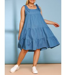 bowknot tiered plus size casual chambray dress