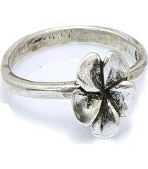 anel  flor de hibisco  prata 925