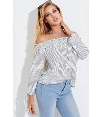 yoins blusa de manga larga a rayas blancas con hombros descubiertos