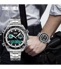 exhibición doble del reloj de la correa de acero de-blanco