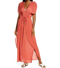 women's elan wrap maxi cover-up dress, size x-large - orange (nordstrom exclusive)