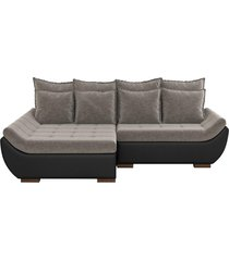 sofá com chaise esquerda 3 lugares sala de estar 262cm inglês linho marrom/corino preto - gran belo