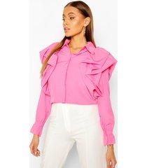 extreme ruffle detail shirt, pink