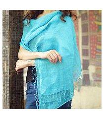 linen shawl, 'sheer turquoise' (india)