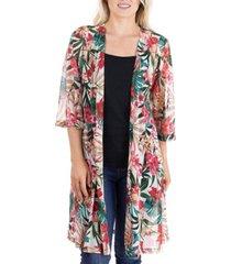 women's sheer open front tropical kimono cardigan