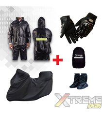 impermeable+pijama moto con maletero+forro maleta+zapaton+guantes pro