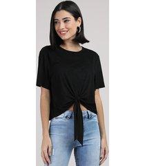 blusa feminina em suede com nó manga curta decote redondo preto