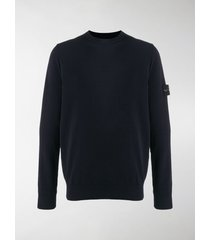 stone island crew neck logo patch sweater