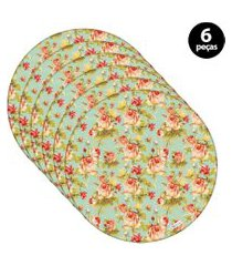 sousplat mdecore floral 32x32cm verde 6pçs