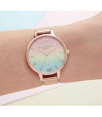 olivia burton women's rainbow glitter dial watch - rose gold mesh