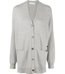 extreme cashmere oversized pouch-pocket cardigan - grey