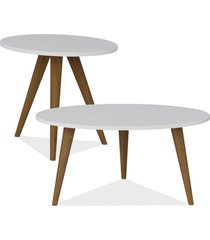 kit com mesa de centro e mesa de canto lateral lyam decor retrã´ branco - branco - dafiti