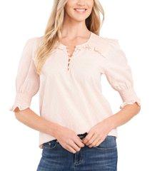 cece clip-dot puff-sleeve cotton top