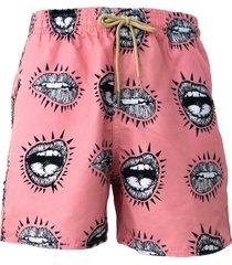 short estampado tactel beijo praiar rosa