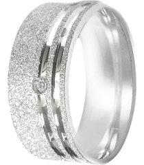 aliança prata mil risco na lateral de prata fosca c/ zircônia prata