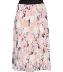 orchid print pleated skirt knälång kjol rosa karl lagerfeld