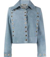 alberta ferretti fitted eyelet-detail jacket - blue