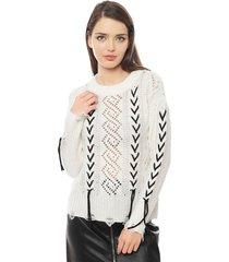 sweater neta laces crudo vero moda - calce regular