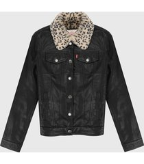 chaqueta negro-animal print levis