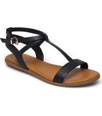 feminine leather flat sandal shoes summer shoes flat sandals svart tommy hilfiger