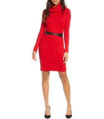 women's donna ricco cowl neck belted long sleeve sweater dress