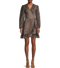 ganni women's animal-print mini wrap dress - leopard - size 36 (4)