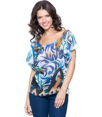 blusa 101 resort wear tunica careca estampado azul