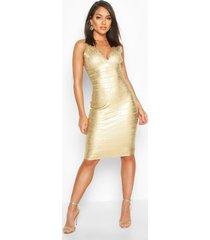 boutique plunge wet look bandage midi dress, gold